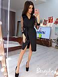Женское платье  на запах с сеткой на рукавах звезда/горох (в расцветках), фото 4