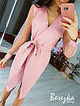 Женское платье  на запах с сеткой на рукавах звезда/горох (в расцветках), фото 7