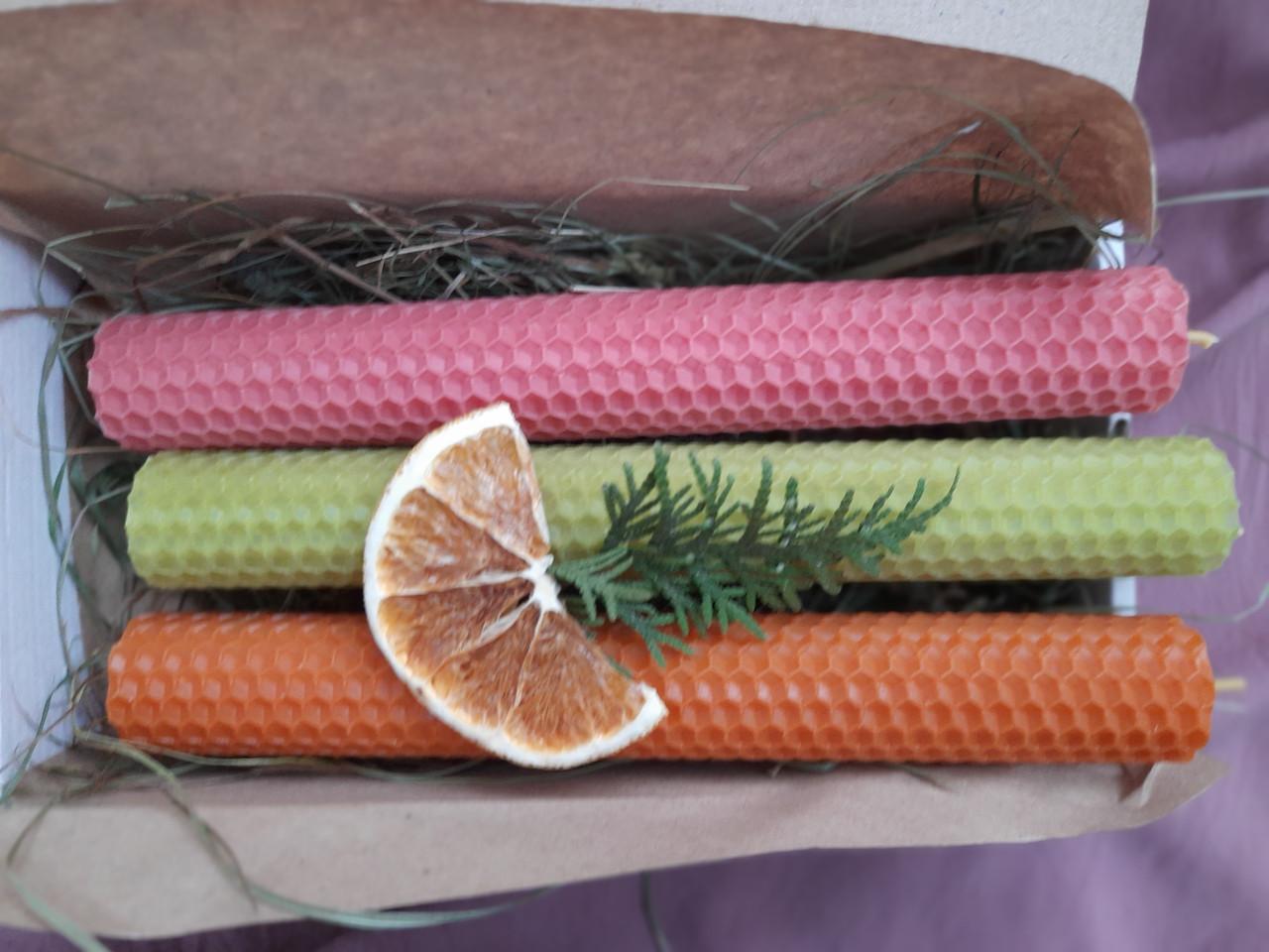 Набір свічок воскових з кольорової вощини
