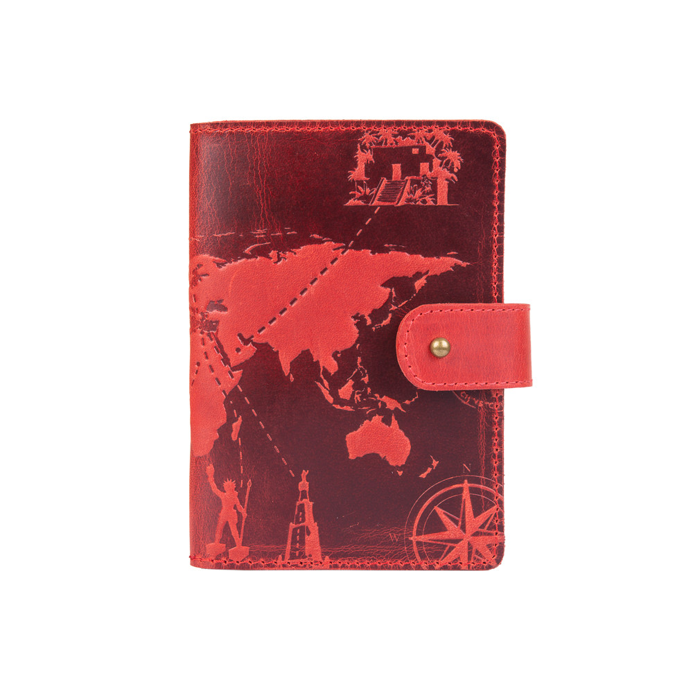 "Кожаное портмоне для паспорта / ID документов HiArt PB-02/1 Shabby Red Berry ""7 wonders of the world"""