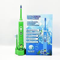 Электрическая детская зубная щетка Sonic Electric 603 звуковая многофункциональная водостойкая зеленая