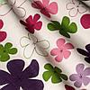 Декоративная ткань разноцветные цветы зеленого розового сиреневого и фиолетового цвета 070781  v18, фото 3