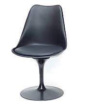 Стілець пластиковий з м'яким сидінням і чорним підставою Milan-Т - стильне дизайнерське рішення для кафе, барів, фото 3