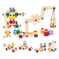 """Детский конструктор из дерева """"Строитель"""" Bino 120 деталей с инструментами"""