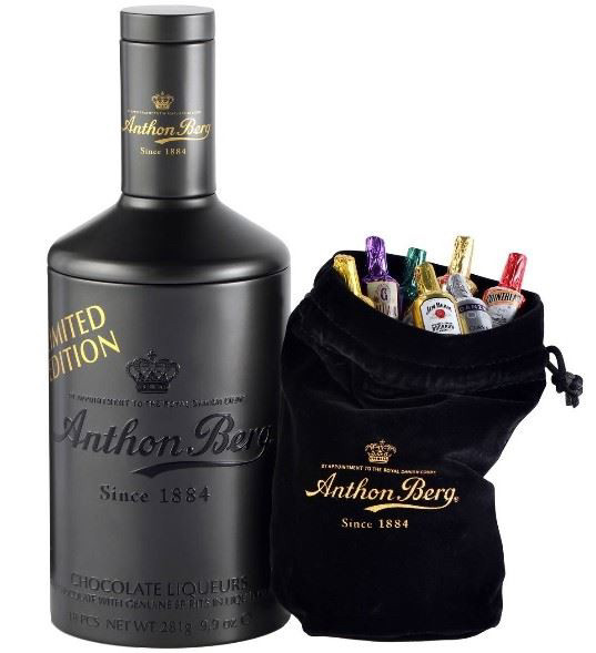 Anthon Berg Металическая бутылка с мини бутылочками из чёрного шоколада внутри в элитным алкоголем