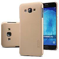 Чехол Nillkin для Samsung Galaxy A8 A8000 золотистый (+пленка), фото 1