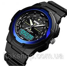 Чоловічі спортивні годинник Skmei 1454 Krast Чорні з синім, фото 3