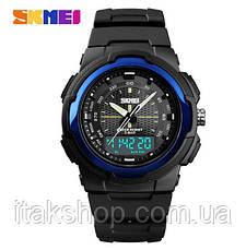 Чоловічі спортивні годинник Skmei 1454 Krast Чорні з синім, фото 2