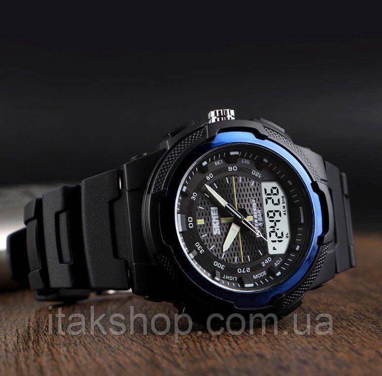 Чоловічі спортивні годинник Skmei 1454 Krast Чорні з синім