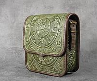 """Кожаная женская сумка, оливковая сумка, сумка через плечо """"Триполье"""", фото 1"""