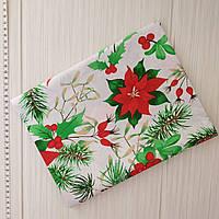 Отрез новогодней ткани Рождественник 50*50 см