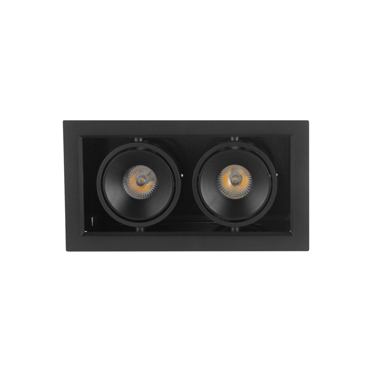 Поворотный врезной двойной спот черный BX07-2-LED 2*7W BK 3000K