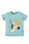 Футболка детская голубая Frugi, Little Creature Applique