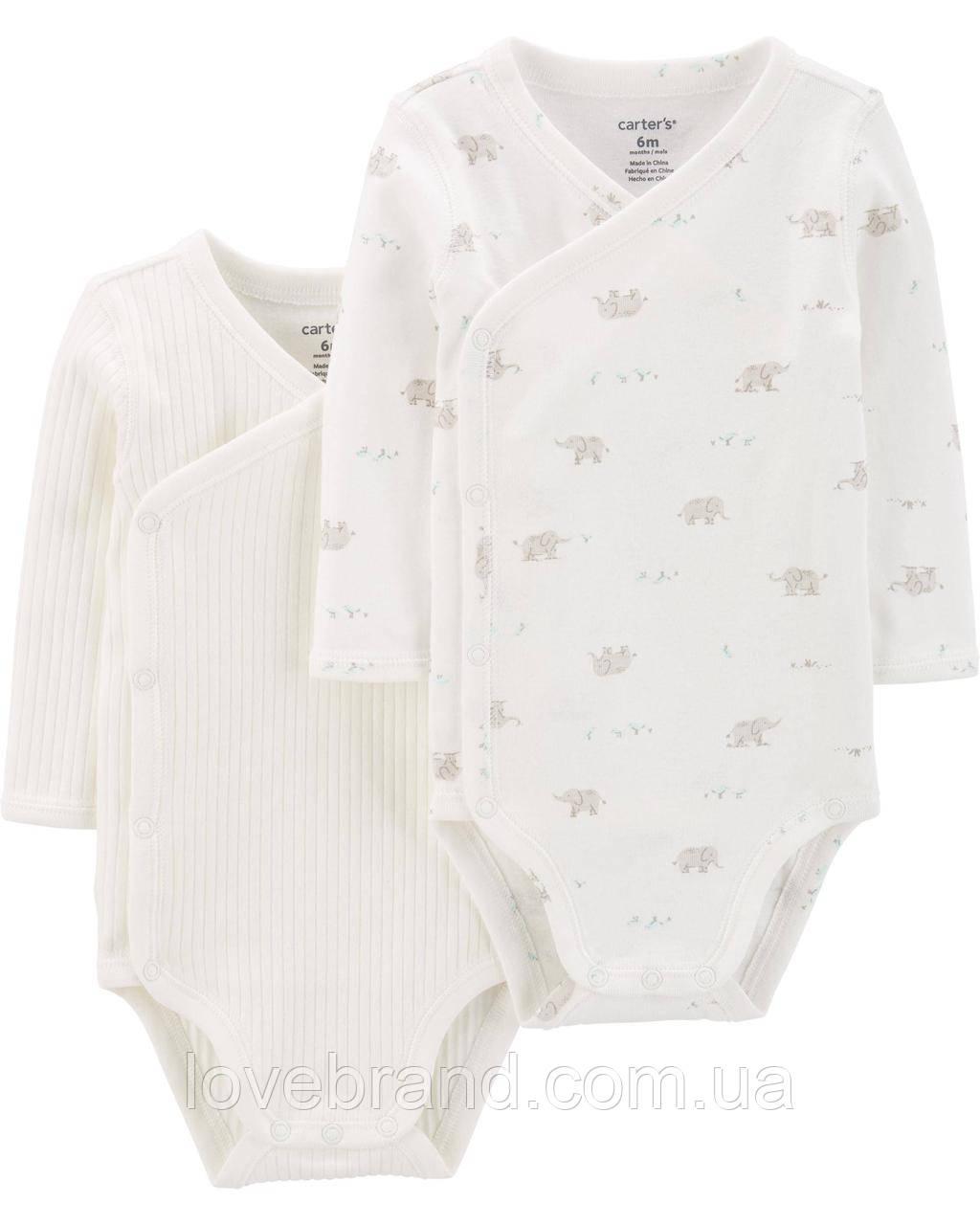 Бодики для новорожденого Carter's на длинный рукав, с заклепками на сторонку  3 мес/55-61 см