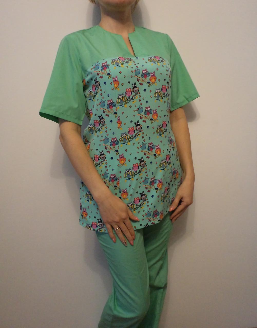 Цветной медицинский костюм  22100 (батист 42-60 р-ры )