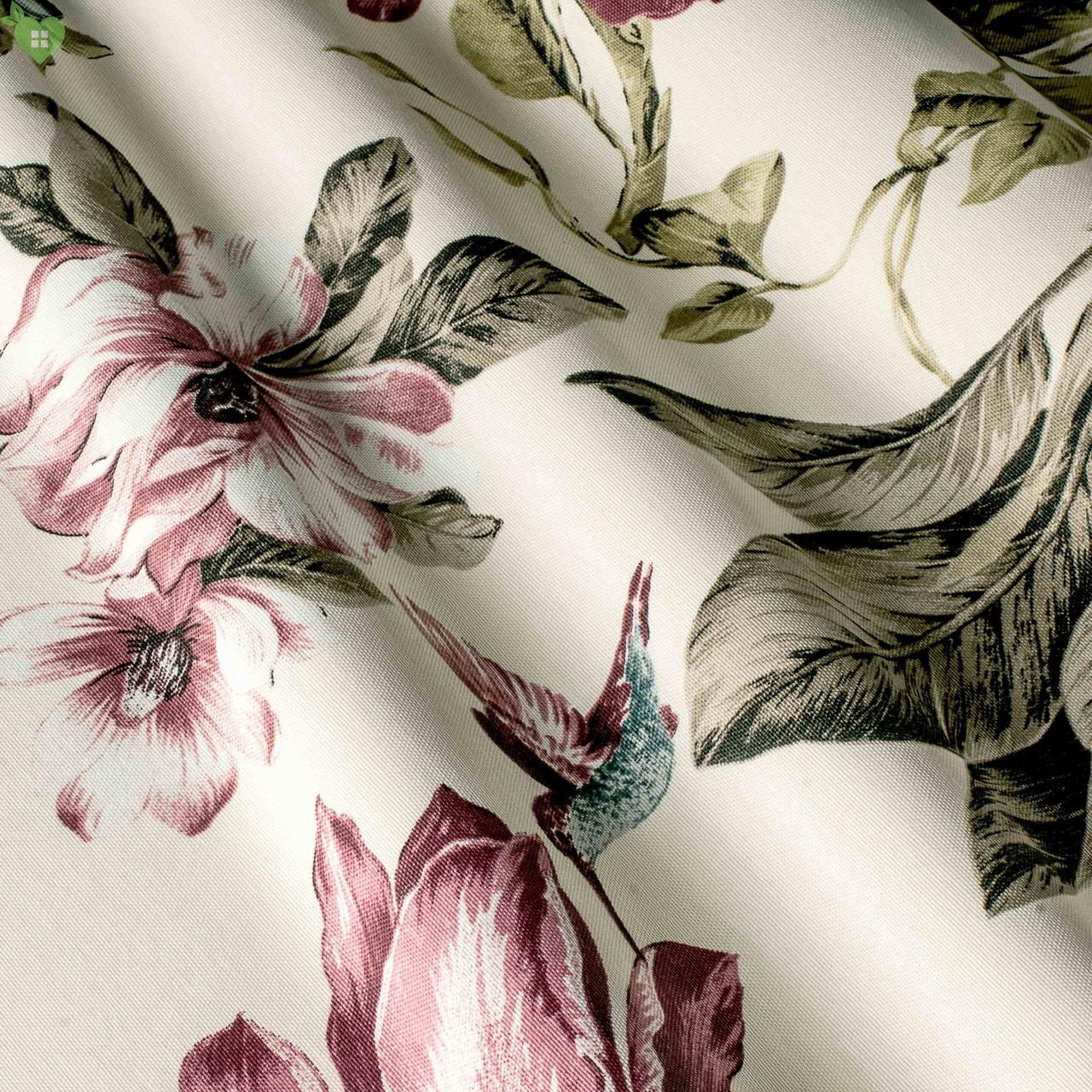 Декоративна тканина рожеві колібрі опыляющие квіти 160145 v38