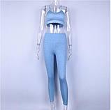 Спортивный костюм женский для фитнеса. Комплект лосины и топ для йоги, спорта, тренировок, размер M (голубой), фото 2