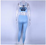 Спортивный костюм женский для фитнеса. Комплект лосины и топ для йоги, спорта, тренировок, размер M (голубой), фото 3