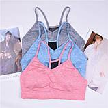 Спортивный костюм женский для фитнеса. Комплект лосины и топ для йоги, спорта, тренировок, размер M (голубой), фото 5