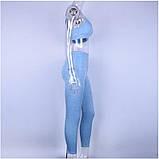 Спортивный костюм женский для фитнеса. Комплект лосины и топ для йоги, спорта, тренировок, размер M (голубой), фото 4