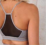 Спортивный костюм женский для фитнеса. Комплект лосины и топ для йоги, спорта, тренировок, размер M (голубой), фото 9