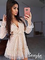 Платье из сетки с пышной юбкой и верхом на запах 68PL631Q