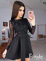 Платье с расклешенной юбкой и верхом из сетки с пайеткой 68PL632Q