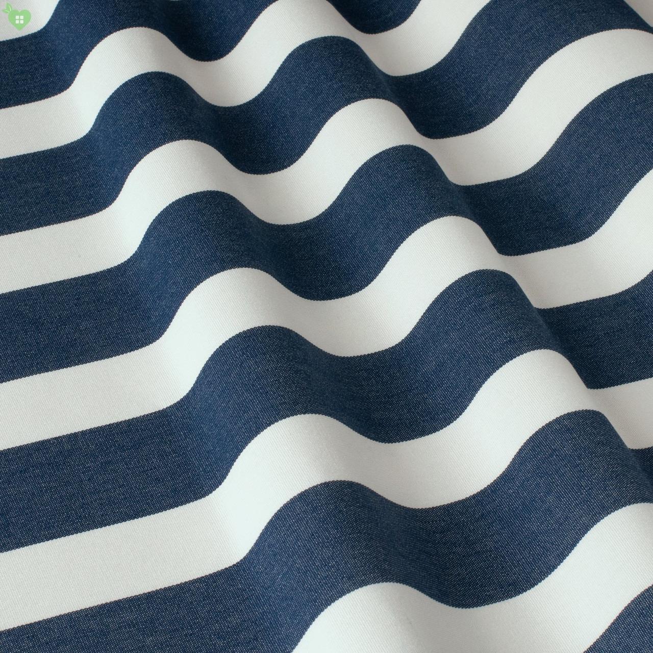 Уличная декоративная ткань полоса синяя и белая