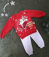 Комплект детский Дед Мороз (батник+штаны)  на 2,3,4 года, красный+серый