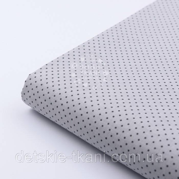 """Лоскут ткани №227а """"Шпильки"""" с графитовыми точками на сером, размер 49*80 см"""