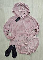 Нежно розовый теплый костюм для дома и отдыха худи и шортики, фото 2