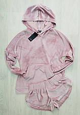 Нежно розовый теплый костюм для дома и отдыха худи и шортики, фото 3