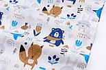 """Бязь польская """"Синие мишки с косынкой, лисички и зайчики"""" фон белый (2441а), фото 5"""