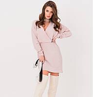Розовое платье на запах с люрексом, платье нарядное праздничное, платье красивое молодежное, платье эффектное, фото 1