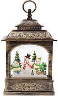 Декоративный фонарь с декором Снеговики и елка внутри, с LED подсветкой на батарейках, в упак. 1шт. (882-105)