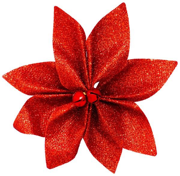 Набор новогодних украшений 12 см, Цветок, 4 шт компл., текстиль, цвет красный