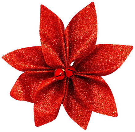 Набор новогодних украшений 12 см, Цветок, 4 шт компл., текстиль, цвет красный, фото 2