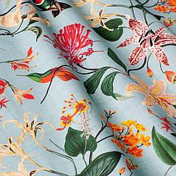 Шторы Прованс с крупными цветными растениями и птицами на голубом