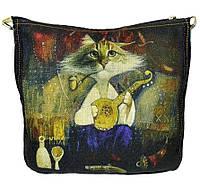 Джинсовая сумка КОТ МАМАЙ, фото 1