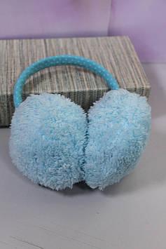 Детские меховые наушники голубые в форме сердечка