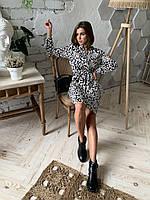 Платье-рубашка из шифона свободного кроя от украинского производителя, размеры 42-54