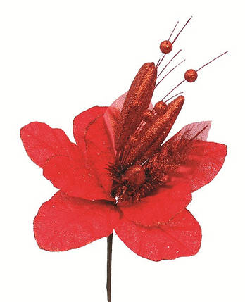 Украшение декоративное Цветок, 40 см, текстиль, цвет красный, фото 2