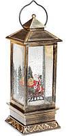 Декоративный фонарь с декором Санта внутри, с LED подсветкой на батарейках 28см, в упаковке 1шт. (882-104)
