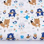 """Лоскут ткани """"Синие мишки с косынкой, лисички и зайчики"""" фон белый 2441а, размер 38*80 см, фото 3"""