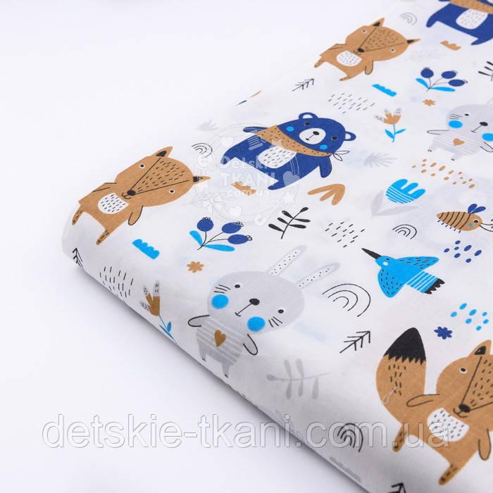 """Лоскут ткани """"Синие мишки с косынкой, лисички и зайчики"""" фон белый 2441а, размер 38*80 см"""