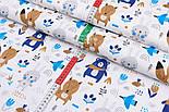 """Лоскут ткани """"Синие мишки с косынкой, лисички и зайчики"""" фон белый 2441а, размер 38*80 см, фото 4"""