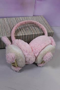 Меховые детские наушники розовые