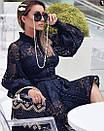 Кружевное платье с рукавом фонариком и расклешенной юбкой 79py594, фото 3