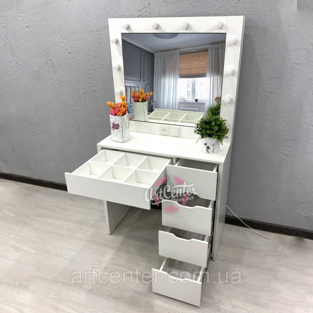 Туалетный столик с полочками внутри зеркала, туалетный столик, стол визажный