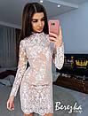 Кружевное платье по фигуре с длинным рукавом и воротником 66py615Q, фото 3
